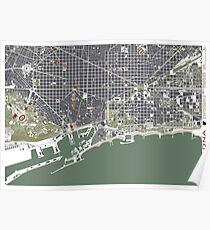 Barcelona city map engraving Poster