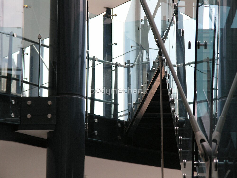 glass and steel stairs reflection 4 by bodymechanic