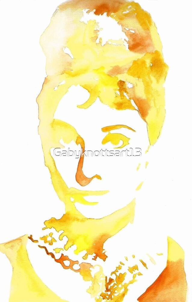 Yellow Watercolour Audrey Hepburn by Gabyknottsart13