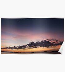 Boat crossing ocean orange violet purple sunset sky. Poster