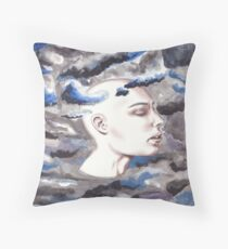 head in the storm clouds Throw Pillow