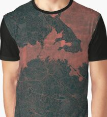Auckland Map Red Graphic T-Shirt