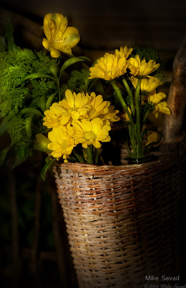 Flowers in a basket by Michael Savad