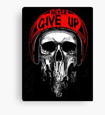 Never Give Up Skull in Red Helmet Canvas Print
