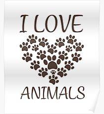 T-shirt I love animals Poster