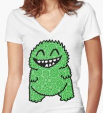 Fuzzy Bud Green Women's Fitted V-Neck T-Shirt