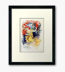 Art nouveau French newspaper ad, woman, satyr Framed Print