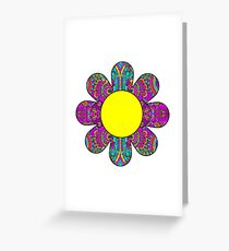 HIPPIE BOHO FLOWER HIPPY COLORFUL PEACE PATTERN DAISY SUNFLOWER 2 Greeting Card