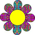 HIPPIE BOHO FLOWER HIPPY COLORFUL PEACE PATTERN DAISY SUNFLOWER 2 by MyHandmadeSigns