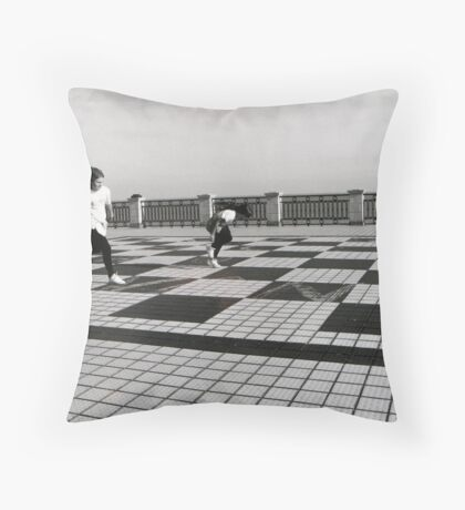Two girls Play Hopscotch Throw Pillow