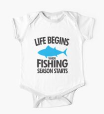 Life begins when fishing season starts Kids Clothes