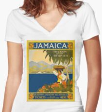 Jamaica Women's Fitted V-Neck T-Shirt