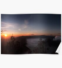 Mist hovering towards the active volcano Bromo. Poster