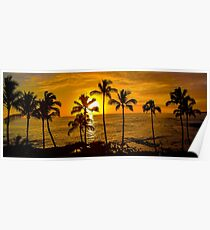 Kauai Sunset & Palm Trees - Hawaii  Poster