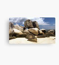 Natural rocks on white sand beach in Belitung Island. Canvas Print