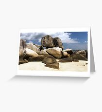 Natural rocks on white sand beach in Belitung Island. Greeting Card