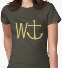 cream W anchor Womens Fitted T-Shirt