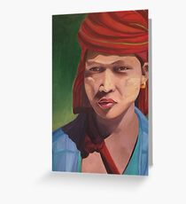 Pa O girl from Myanmar with Thanaka Greeting Card