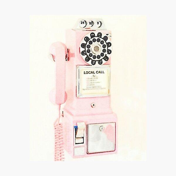 Pink Retro Vintage Telephone Photographic Print