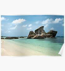 Rock formation in sea near white sand beach. Poster