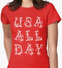 USA ALL DAY Womens Fitted T-Shirt