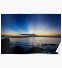 Sunray on the ocean horizon. Poster