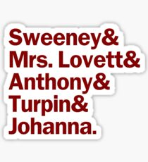 Sweeney Todd Characters | Red Sticker