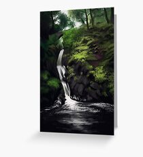 Waterfal Landscape Greeting Card