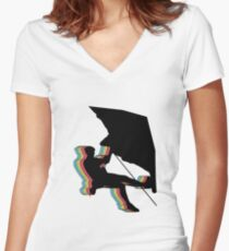 Kletterer im Überhang.  Design psychedelic Women's Fitted V-Neck T-Shirt