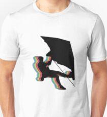 Kletterer im Überhang.  Design psychedelic T-Shirt