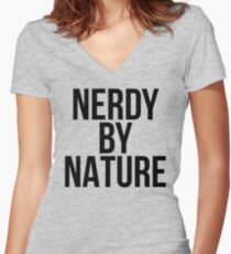 NERDY BY NATURE Women's Fitted V-Neck T-Shirt