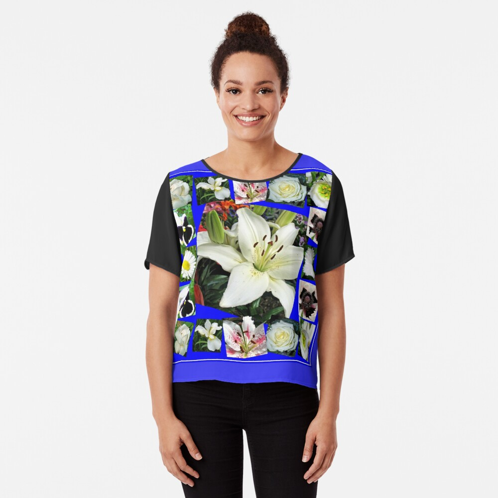 White Delight - Summer Flowers Collage Chiffon Top