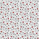 polar bears in Santa Claus hats seamless pattern on white by demonique