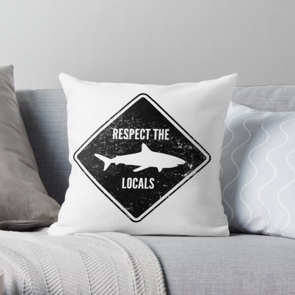 Respect The Locals - Shark Diving Throw Pillow