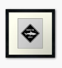 Respect The Locals - Shark Diving Framed Print