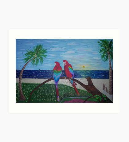 Parrots Chatting by the Sea Art Print