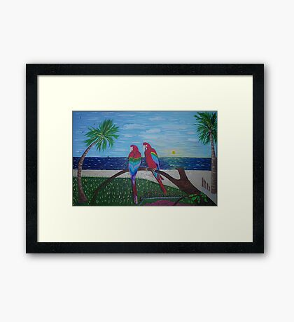 Parrots Chatting by the Sea Framed Print