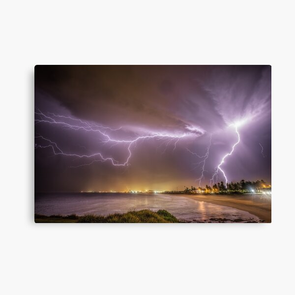 Lightning over Wollongong City Beach Canvas Print