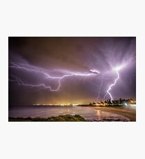 Lightning over Wollongong City Beach Photographic Print
