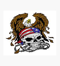 Patriotism - American Skull and Eagle Photographic Print
