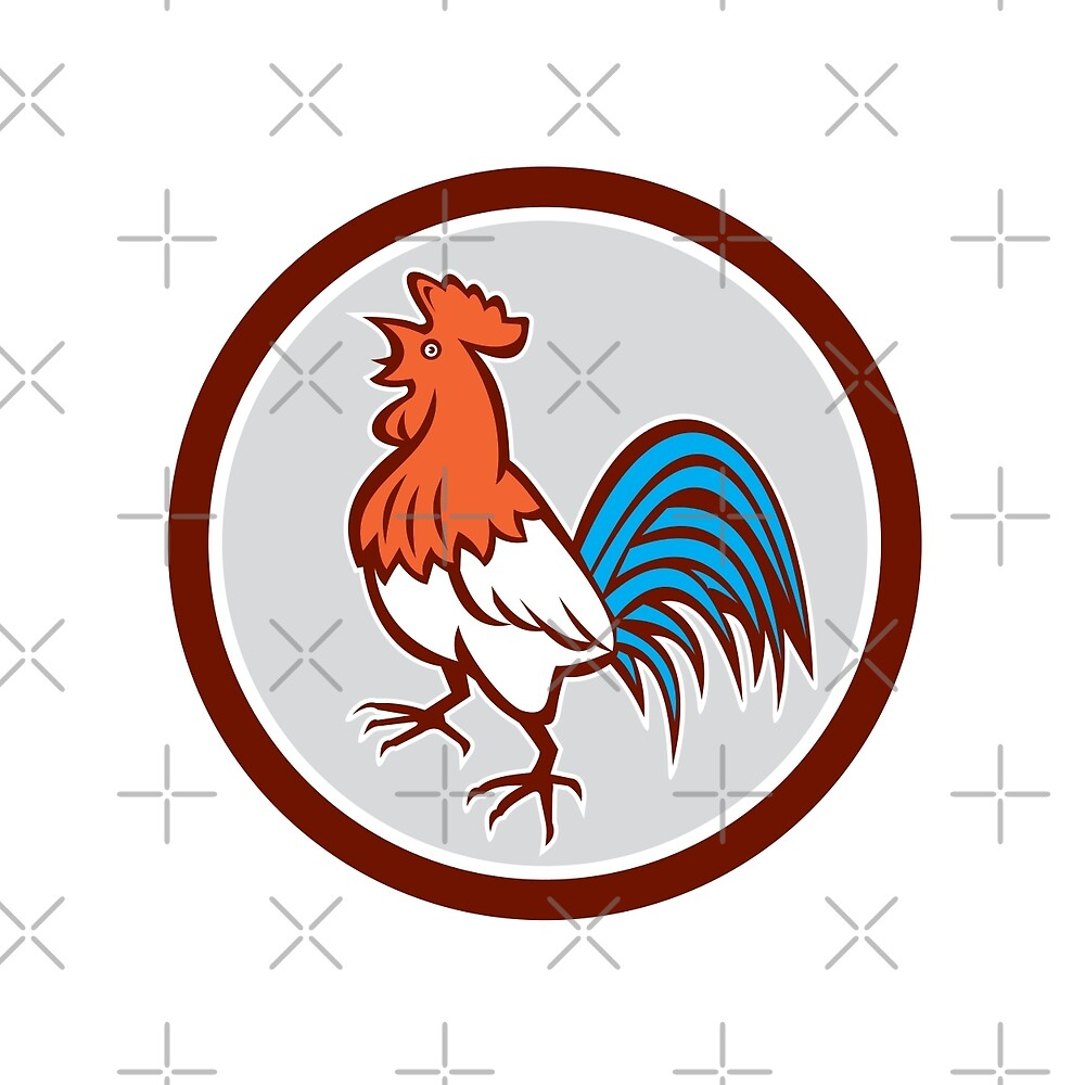 Chicken Rooster Crowing Looking Up Circle Retro by patrimonio