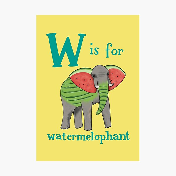 W is for Watermelophant Photographic Print