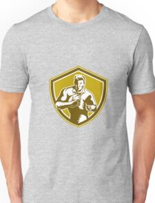 Rugby Player Running Fending Shield Retro Unisex T-Shirt