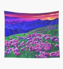 Rainbow Sunset Soaked Mountain Landscape Wall Tapestry