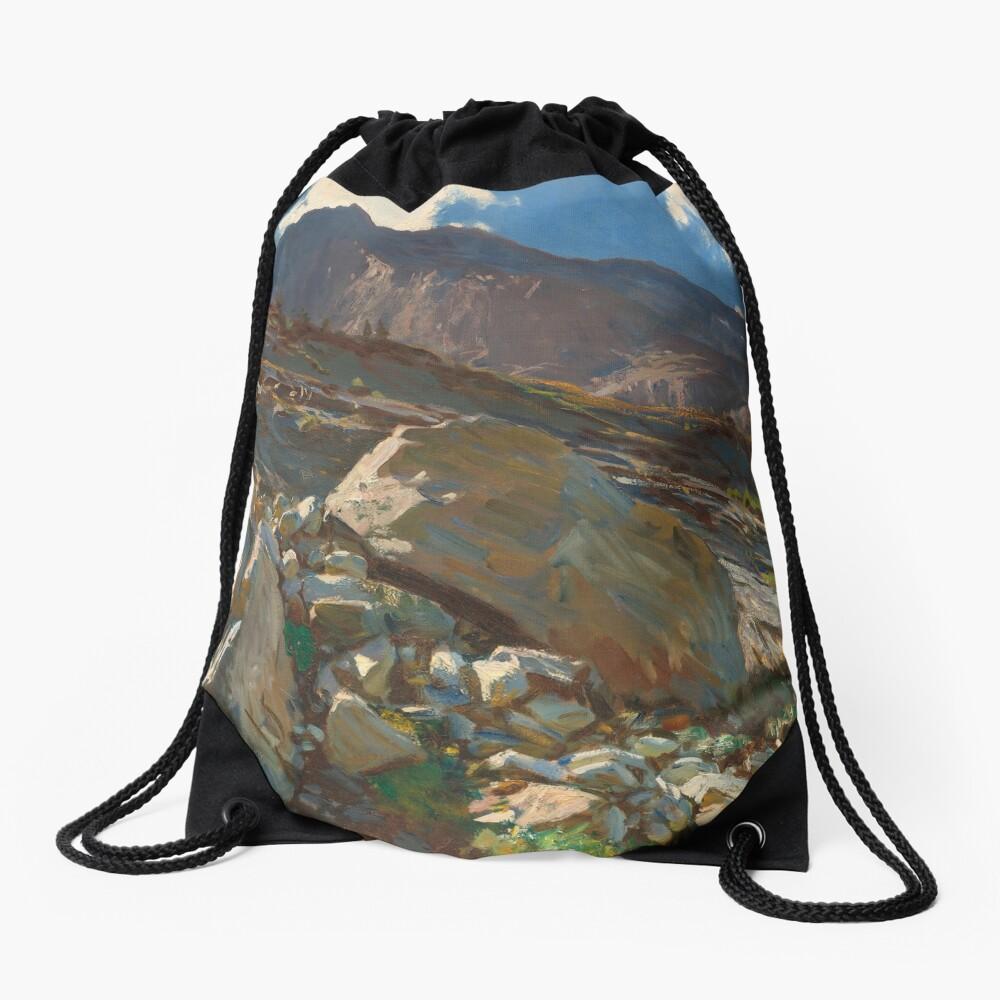 Simplon Pass Oil Painting by  John Singer Sargent Drawstring Bag