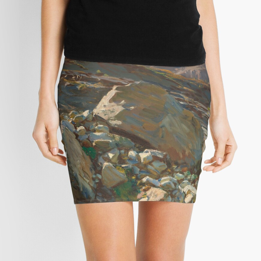 Simplon Pass Oil Painting by  John Singer Sargent Mini Skirt