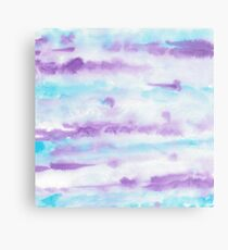 Abstract Brush Strokes Purple Blue & White Metal Print