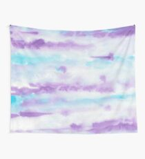 Abstract Brush Strokes Purple Blue & White Wall Tapestry