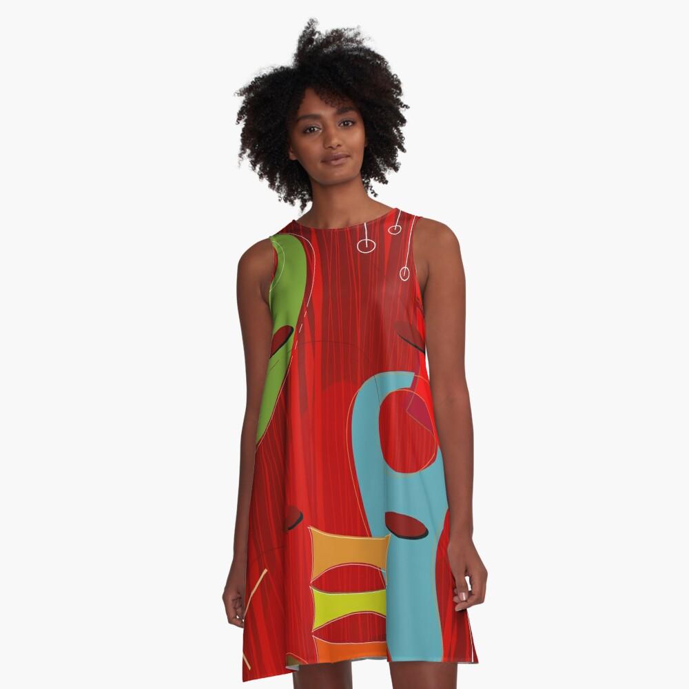 Retro Eames-Era Atomic Inspired 6 A-Line Dress
