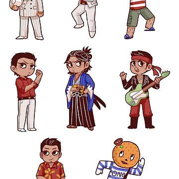 kiryu kazuma sticker sheet by 1000butts
